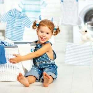 girl happy with clothes